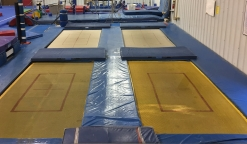 Trampolines at our gymnastics facility